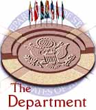 Link to The Department page - clickable image is drawing of stylized Department seal and flags
